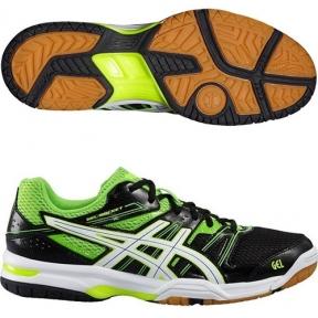 Волейбольные кроссовки Asics Gel Rocket 7 (чёрно-зеленые)