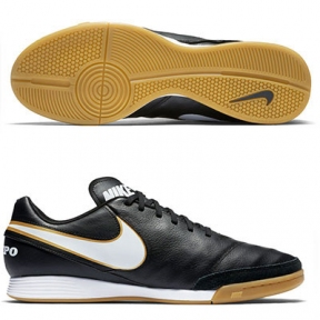 Футзалки Nike TiempoX Genio II Leather IC Черные